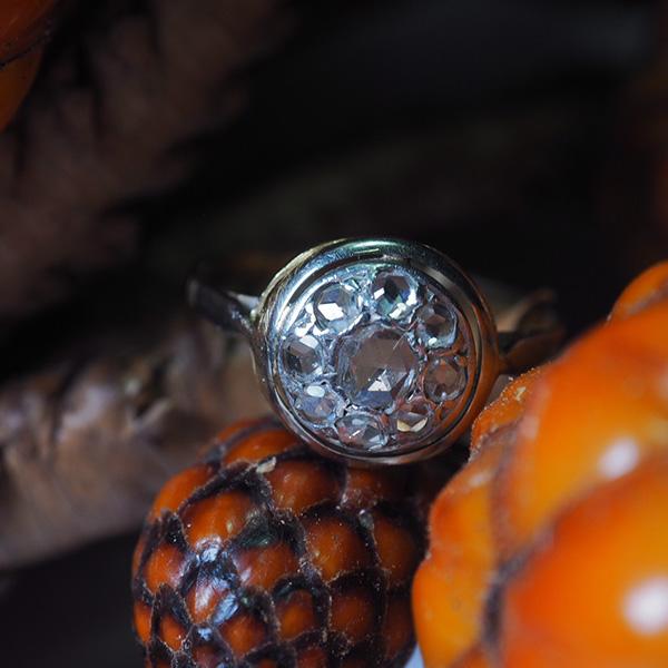 18金ローズカットダイヤモンドリング