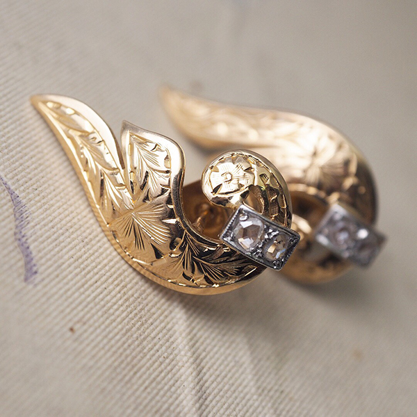 18金ローズカットダイヤモンド ウィングピアス 1920年代 フランス