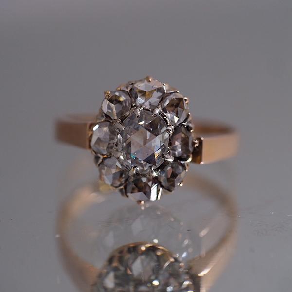 18金 ローズカットダイヤモンド クラスターリング 1900年頃 フランス