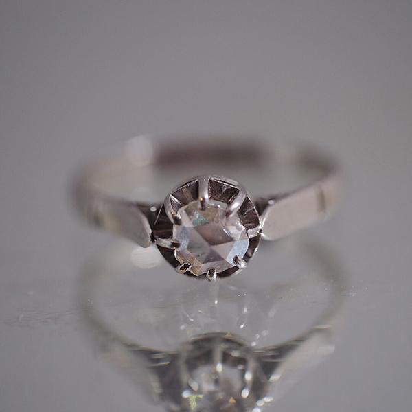 プラチナ ローズカットダイヤモンド ソリティアリング 1920年代 フランス