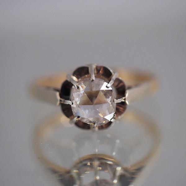 18金 ローズカットダイヤモンド ソリティアリング1920年代 フランス
