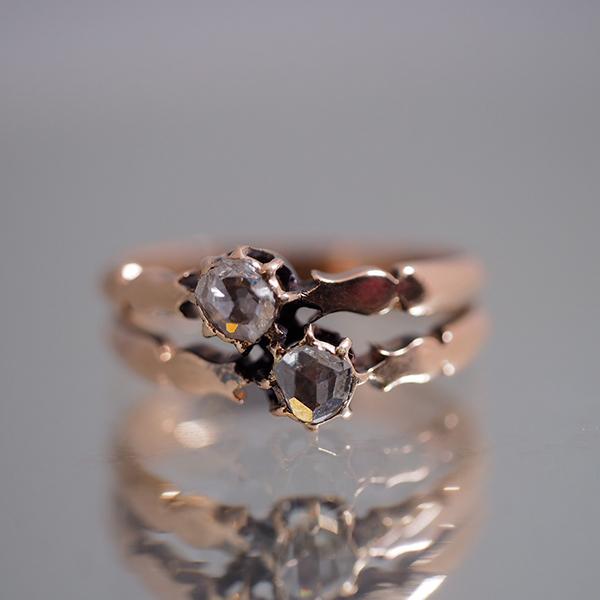 14金 ローズカットダイヤモンド トワエモアリング 1900年頃