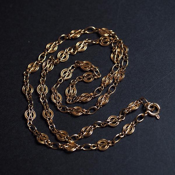 18金 ゴールドフィリグリーチェーンネックレス アールデコデザイン 1920年代 フランス