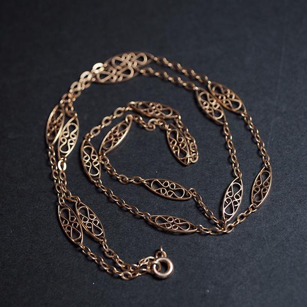 18金 ゴールドフィリグリーチェーンネックレス 1900年代 フランス