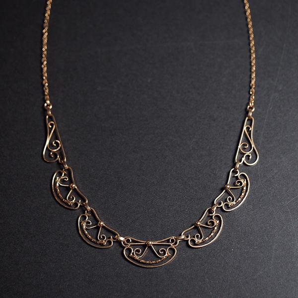 18金 ゴールドフィリグリー ボウデザイン ネックレス 1900年頃 フランス