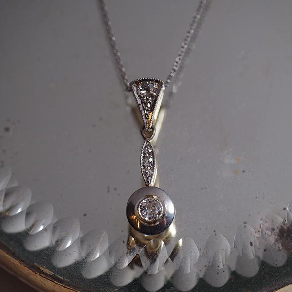 18金 ホワイトゴールド オールドヨーロピアンカットダイヤモンド アールデコネックレス 1920年代 フランス