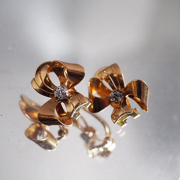 18金 ゴールド ボウデザイン オールドヨーロピアンカットダイヤモンド クリップイヤリング 1930年代 フランス