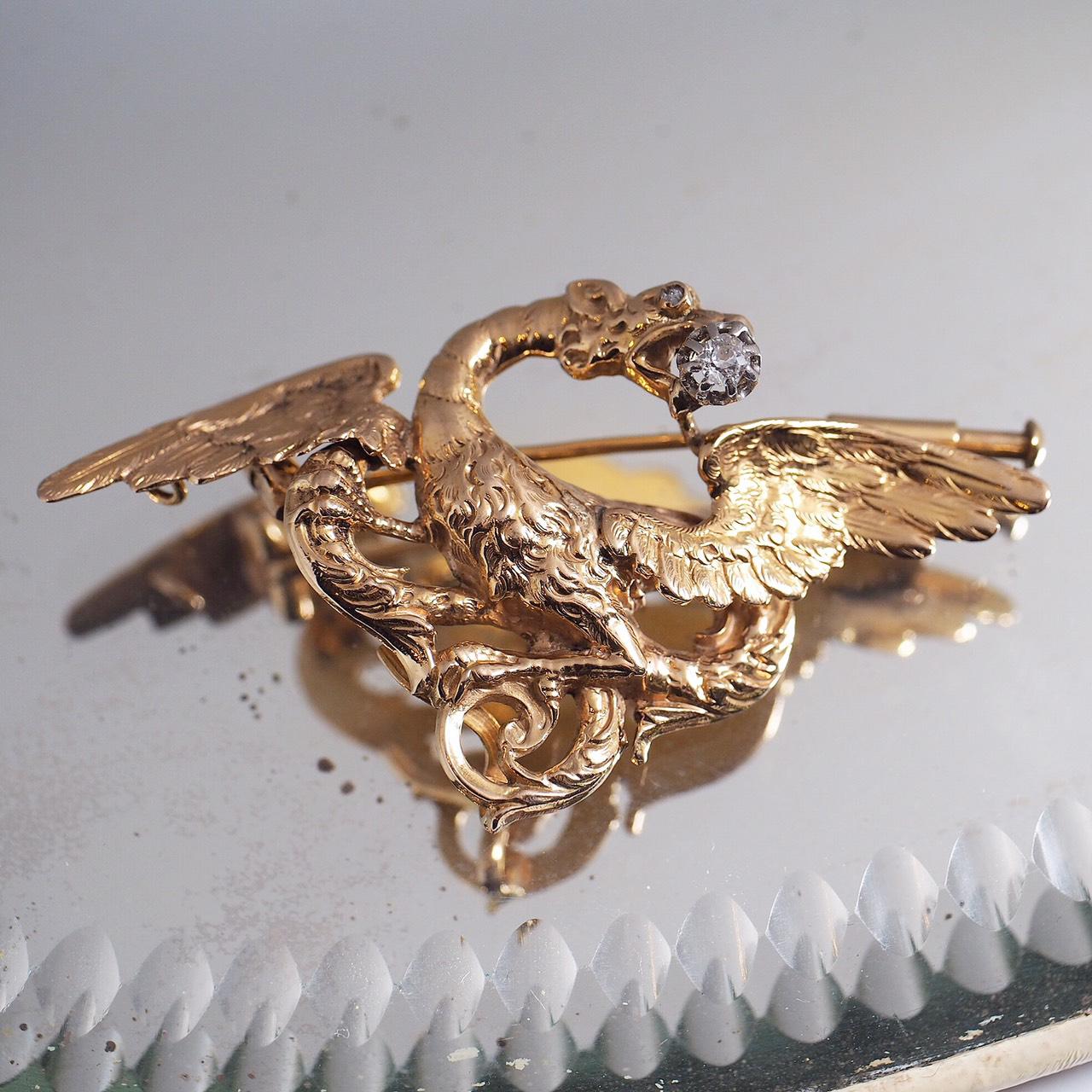 18金 ゴールド ドラゴン(キメラ)オールドヨーロピアンカットダイヤモンド ブローチ 1900年頃 フランス