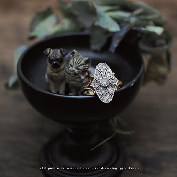 18金 ローズカットダイヤモンド アールデコリング 1930年代 フランス ヴィエナブロンズ 犬と猫 1900年頃