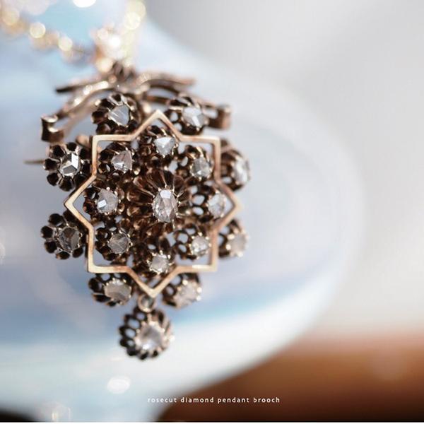 ローズカットダイヤモンド ペンダントブローチ 1900年頃