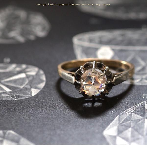 プラチナ ローズカットダイヤモンド ソリテールリング 1920年代 フランス