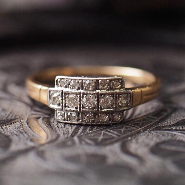 18金 オールドヨーロピアンカットダイヤモンドアールデコスクエアリング 1920年代