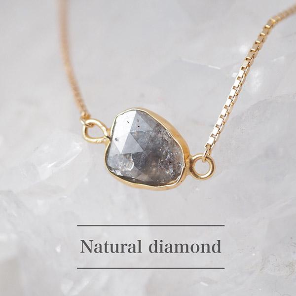 限定品 ナチュラルダイヤモンドローズカット18金ネックレス