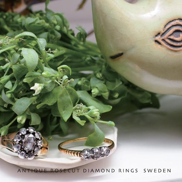 18金シルバー ローズカットダイヤモンドリング 1920年代 スウェーデン