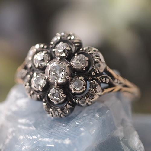 18金 シルバー スウェーデン ダイヤモンド クラスターリング