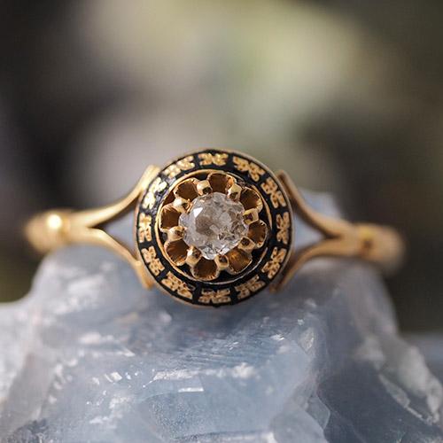 18金 スウェーデン ダイヤモンド ブラックエナメル リング