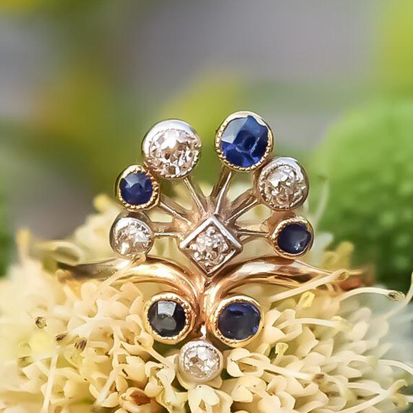 18金ブルーサファイアダイヤモンド 孔雀アールデコリング 1930年代 ベルギー