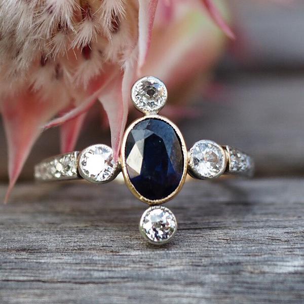 18金ブルーサファイアダイヤモンド クロスデザインリング 1920年代