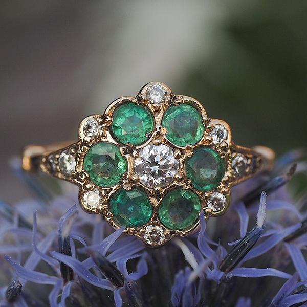 15金 エメラルドダイヤモンドクラスターリング 1910年ごろ イギリス