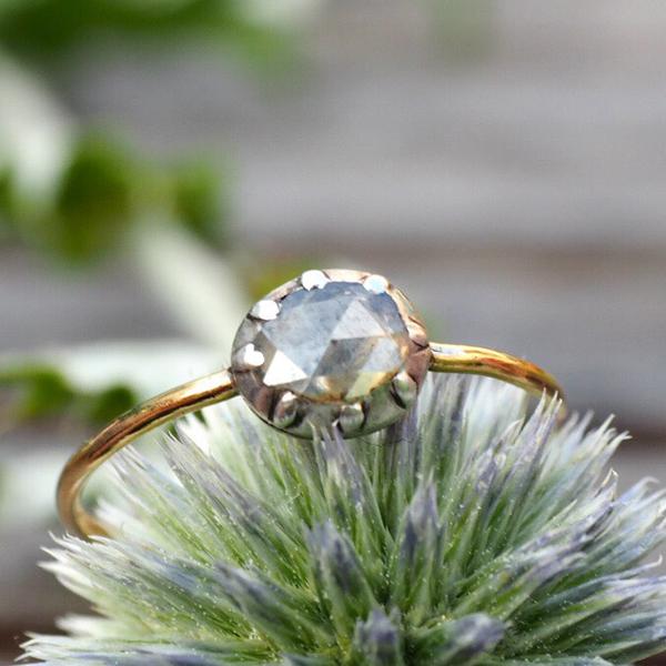 18金シルバー ローズカットダイヤモンドリング 1800年ごろ イギリス