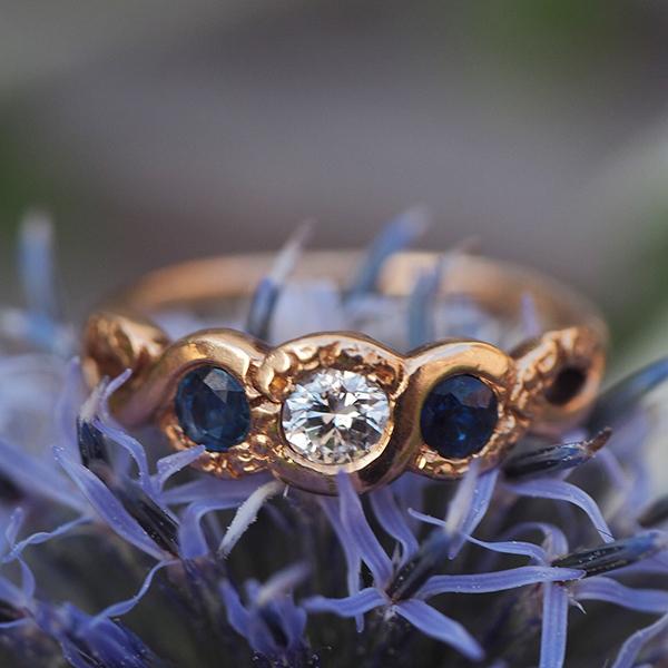 18金 ブルーサファイアダイヤモンド一文字リング 1930年代