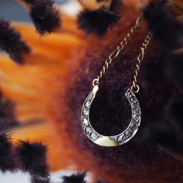 1920年ごろ 9金ローズカットダイヤモンド ホースシューネックレス