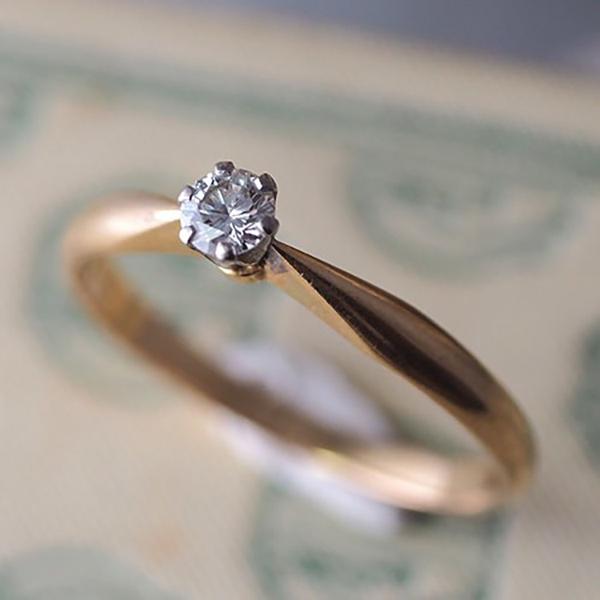 18金1936年 ダイヤモンドソリティアリング
