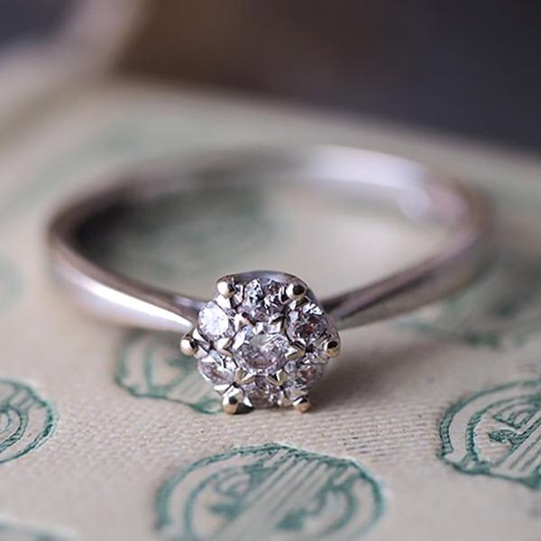 9金 ダイヤモンドクラスターリング