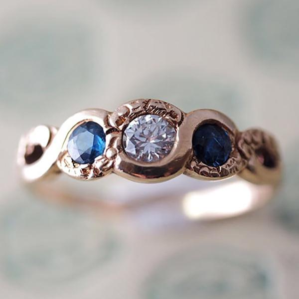 14金 ブルーサファイヤ&ダイヤモンドリング