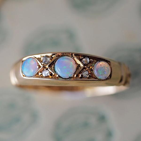 18金 オパール&ダイヤモンド 1890年ヴィクトリアンリング