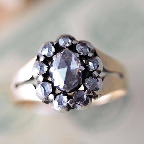 Gダールグレイン 1915年 18金ローズカットダイヤモンドリング(北欧アンティークジュエリー)