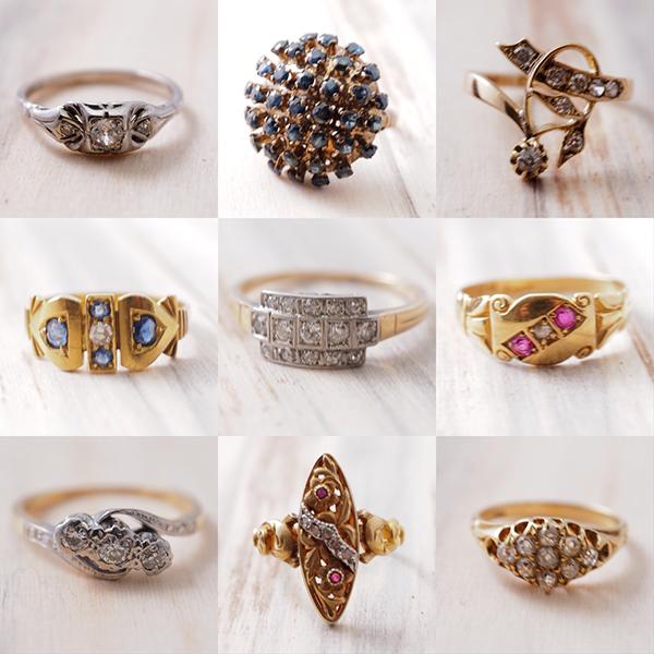 9金から18金のダイヤモンドのアンティークジュエリーのリングたち。